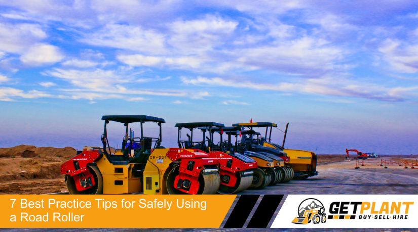 A row of road roller machinery with tips om how to use them safely by GetPlant